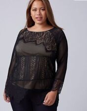 Lane Bryant Womens Plus sz 14/16 1X Mesh Lace Top Long Sleeve Lined Black Nude