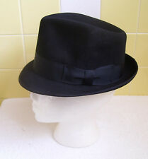 "Vtg Kenworth Imperial Finish Black Fedora Size 6 7/8-1 3/4"" Brim-Grosgrain Band"