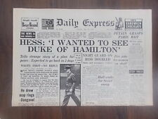 DAILY EXPRESS WWII NEWSPAPER MAY 15th 1941 RUDOLF HESS WANTED TO TALK PEACE