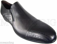 CESARE PACIOTTI FANCY BLACK LEATHER LOAFERS ITALIAN DESIGNER MENS SHOES US 12
