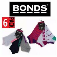 Womens BONDS 6 Pack Pairs Invisi Grip Sports Low Cut Gym Trainer Socks Size 8-11
