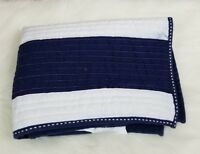 "Pottery Barn Teen  Rugby Stripe Standard Sham Navy Blue White 20""x26"""