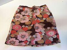Room Seven Skirt size 140 age 9-10 Adj Waist Brown Corduroy Floral Flowers