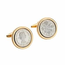 Mount | Dated 1970, 49th birthd Mirror Polished Lucky Sixpence Cufflinks in Gold