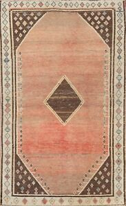 Antique GABBEH Geometric Oriental Area Rug Wool Hand-knotted Foyer Carpet 4x6 ft
