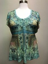 ONE WORLD WOMEN'S GREEN PRINTED EMBELLISHED W/ LACE CAP SLEEVE TOP PLUS Sz 1X
