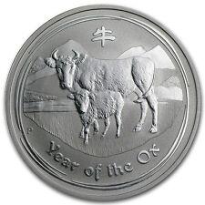 2009 Perth Mint Lunar Year Ox 2 oz .999 Fine Silver Coin