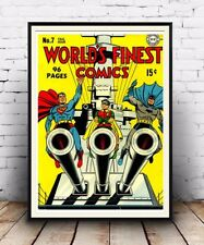 Worlds finest comics, Vintage Comic book poster reproduction.
