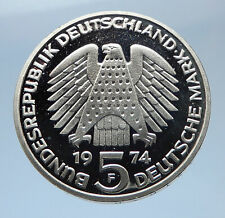 1974 F GERMANY 25 Years of German Federal Constitution Law Silver 5 Mark i77903