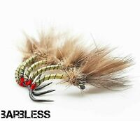 Barbless Hot Butt CDC Yellow owl Buzzers Size 14 (Set of 3)  Fly Fishing Flies