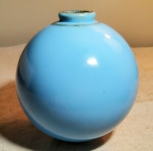 "ANTIQUE ROBIN EGG BLUE MILK GLASS LIGHTNING ROD BALL 5"" WIDE & IN NICE CONDITION"