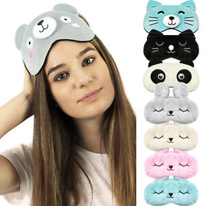 Eye Mask Travel Sleep Beauty Cooling Gel Pad fun fluffy Bunny Cat animal