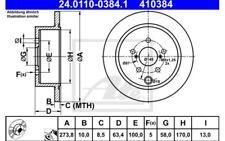 2x ATE Discos de Freno Traseros Pleno 274mm 24.0110-0384.1