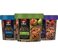 Quaker Real Medleys, Variety Pack, Instant Oatmeal+ Breakfast Cereal (12 Cups)