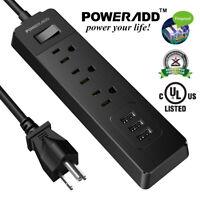 1250W 3 Outlet & 3 Smart USB Charging Port Surge Protector Power Strip 300 J