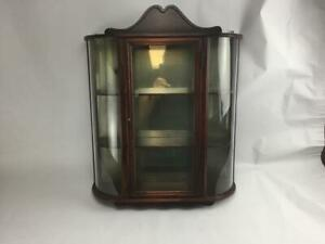 """Antique Wooden Wall Beveled Glass Display Case Curio Cabinet 23.5"""" x 19"""" x 5.5"""""""