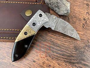✅ Hand-Forged Damascus Folding knife engraved pocket knife Bull Horn Brass