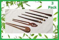 3 x Handmade wooden HAIR PIN STICK CHOPSTICK Natural Sono Wood