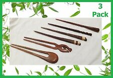 3 x Handmade wooden HAIR PIN STICK CHOPSTICK Natural Sono Wood