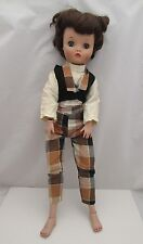 UNEEDA MOMMY DOLLIKIN DOLL with  RARE BROWN PLAID ORIGINAL OUTFIT & GREEN EYES