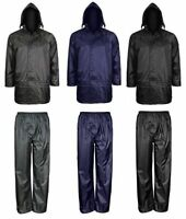 Men's Waterproof Windproof Rain Jacket and Trousers Set Rainsuit size S-4XL