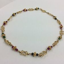 BLUE SAPPHIRE GREEN EMERALD RED RUBY 14K YELLOW GOLD CHOKER NECKLACE