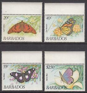 Barbados #602-605 MNH Butterflies set 1983 cv $13