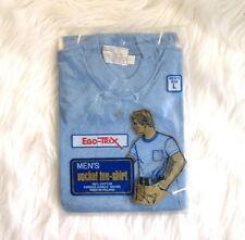 Vtg Ego Trix Hidaco Mens TShirt 70s NOS Deadstock Blank Shirt Blue Pocket Tee L