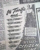 CITIZEN KANE Orson Welles #1 Movie Premiere AD New York City 1941 OLD Newspaper