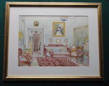 IMPERIALE RUSSO aristocratico interni Antico Acquerello 1910