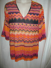 RESORT Women's kaftan top..size L..approx.16..great colours..NEW..rrp $49.95