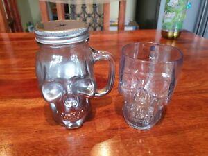 Skull Glass Mugs Tumblers x 2