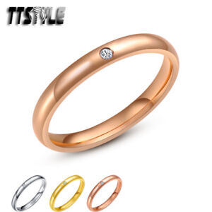 TTstyle 3mm Stainless Steel Comfort fit Wedding Band Ring Choose Size