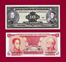 BEAUTIFUL LOT of 2 UNC Notes: 5 Bolivares 1989 (P-70) & 10 Bolivares 1995 (P-61)