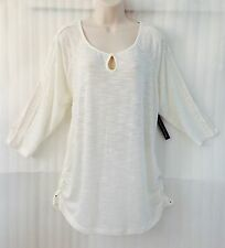 Women's Plus Knit Top size 20/18/1X White Ivory Crochet Lace Shirt New 3/4 Sleev