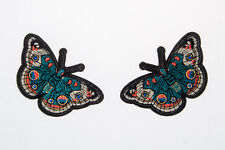 Butterfly Green Embroidered Craft Bouquet Twin Needlework Floral Decor Sew Iron