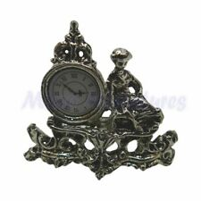 Dolls House Silver Antique Clock 1/12th Scale (01016)