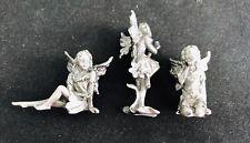 Set of 3 Miniature Pewter Fairy Fairies Wings Mystical Silver Metal Figurines B