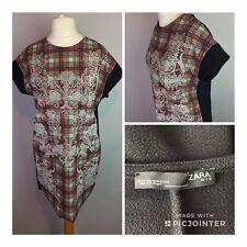 Zara Pinafore Tartan Floral Dress Size M (12-14)