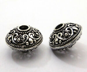 4 PCS 20X14MM BALI BEAD ANTIQUE STERLING SILVER PLATED 354 JEW-742