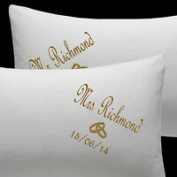 PERSONALISED Wedding rings gift Pillow Cases EMBROIDERED Cotton Anniversary 2nd