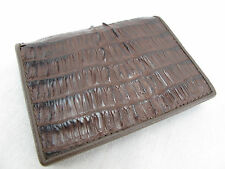 Genuine Crocodile Caiman Leather Bifold Card Holder Wallet Brown + Free Shipping