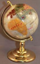Multi-Gemstone 90mm Desktop Globe in White Pearl - Gold Tone Base Free S&H