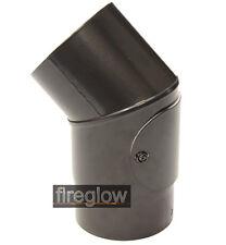 "6"" (150mm) diameter 45 degree Elbow Bend + DOOR Vitreous Enamel Flue Pipe Black"