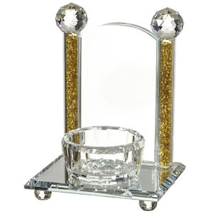 Crystal Holder For Memory Candle Silver Stones Home Decor Shabbat 17x12cm