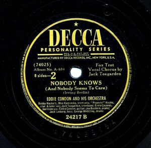 EDDIE CONDON Orchestra on 1947 Decca 24217 - We Called It Music / Nobody Knows