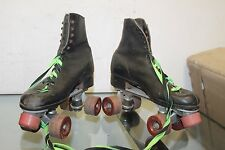 Vintage Black Roller Derby Skates, Hard Leather Size unknown