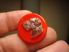 Antique Vintage RED glass relief silver SCOTTY DOG button