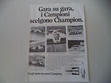 advertising Pubblicità 1982 CHAMPION e RENAULT 5 TURBO/NELSON PIQUET/TOMMY BYRNE
