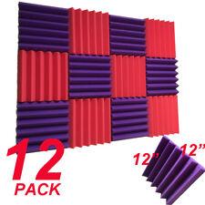 12 RED purple Acoustic Foam Wedge Tiles Soundproofing Panel Sponge 12x12x2''